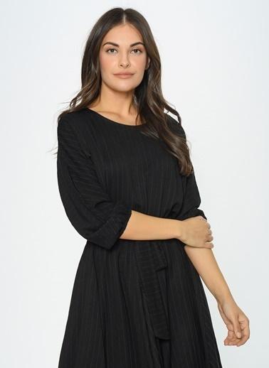 Loves You Beli Lastikli Çizgili Dokulu Evoze Elbise Siyah